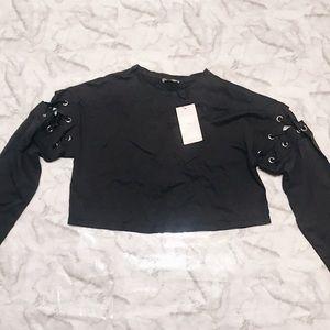 Zara Long Sleeve Crop Top (Charcoal) Size S